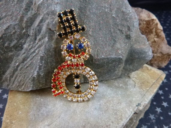 Winter Holiday Snowman Rhinestone Brooch | Black Top Hat, Articulated Red Scarf, Cute Snowman Vintage Pin
