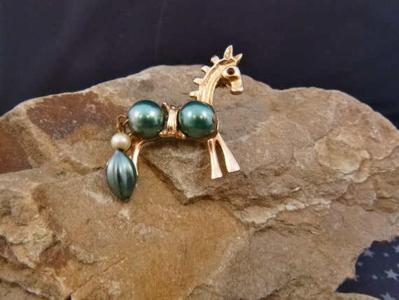 Horse Lover? Mid Century Modern Stylized Horse Vintage Brooch | Unique 1950s Horse Figural with Large Geen Balls and Articulated Tail