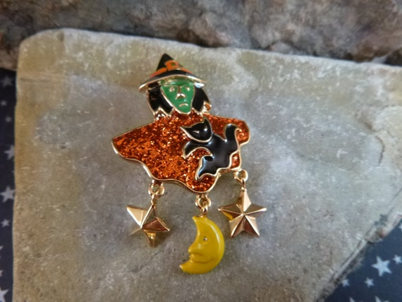 Halloween Vintage Witch Pin With Scary Green Face Black Cat Dangling Moon and Stars