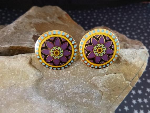 "Laurel Burch ""Waterlilies"" Cloisonné Enamel Round Vintage Pierced Earrings"