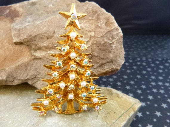 Vintage Tancer II Christmas Tree Pin Swooping Branches with Aurora Borealis Rhinestones and Faux Pearls Collectible Book Piece