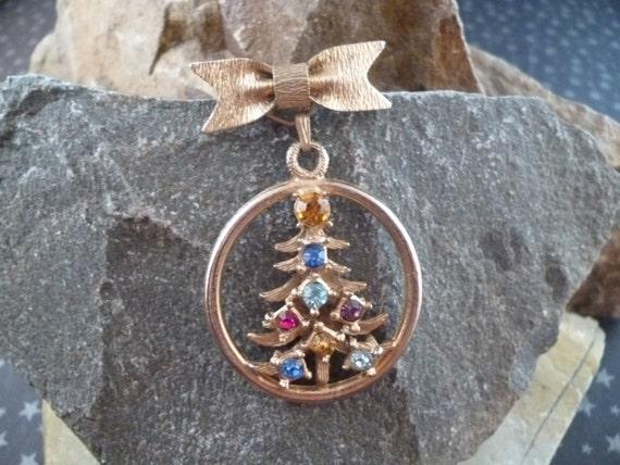 Unusual Dangling Christmas Tree Vintage Pin / Brooch