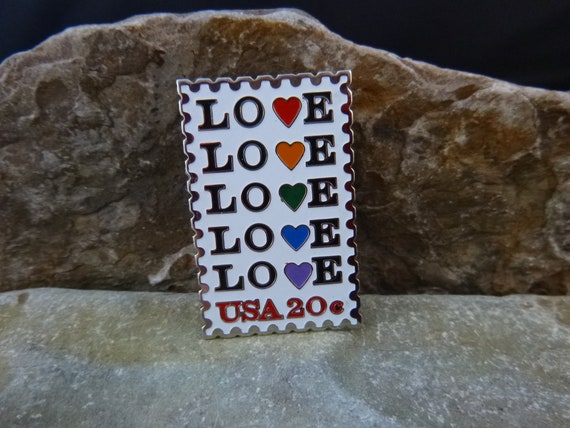 Love Love? 1984 LOVE USA 20 Cent Postage Stamp Pin | Message Pin