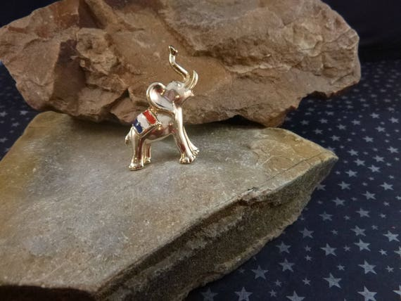 Vintage BJ (Beatrix) Republican Patriotic Red White and Blue Elephant with Trunk Up Pin