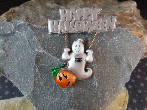 Happy Halloween Vintage Pin Whimsical Ghost on Swing with Jack O Lanterns