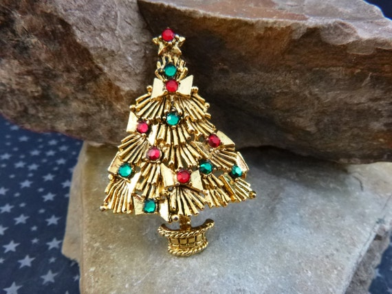 Hollycraft Bow Christmas Tree Vintage Pin | Red and Green Rhinestone Ornaments | Collectible Brooch Book Piece