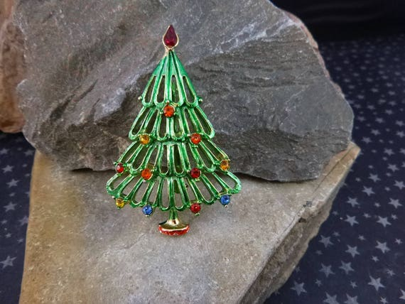 Green Christmas Tree Vintage Pin with Rhinestones | Unsigned Beauty Book Piece