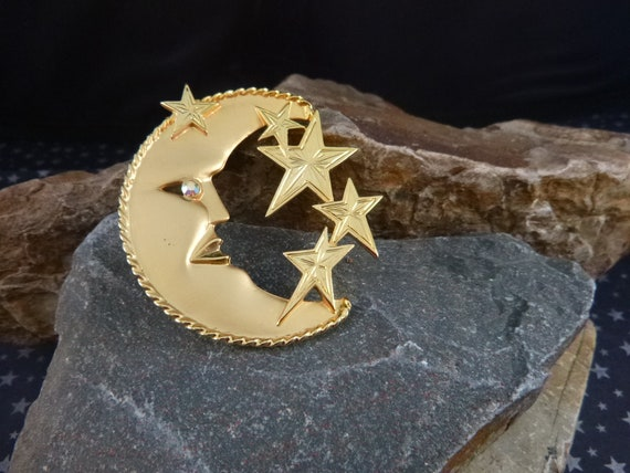 Man in Moon and Stars Whimsical JJ Vintage Large Bold Brooch with Aurora Borealis Rhinestone