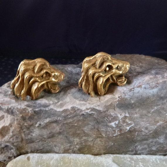 Lion Head Large Unique Animal Safari Styled Vintage Cast Brass Cuff Links / Cufflinks