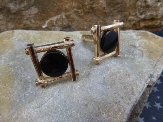 Black Onyx Dante Square Vintage Cuff Links | circa 1960s Cufflinks