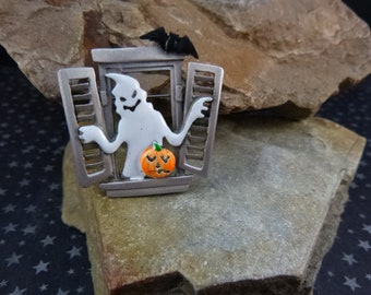 Ghost Welcoming Halloween Vintage Pin |  JJ Signed Whimsical Pin with Bat, Pumpkin, Ghost  | Window Halloween Scene