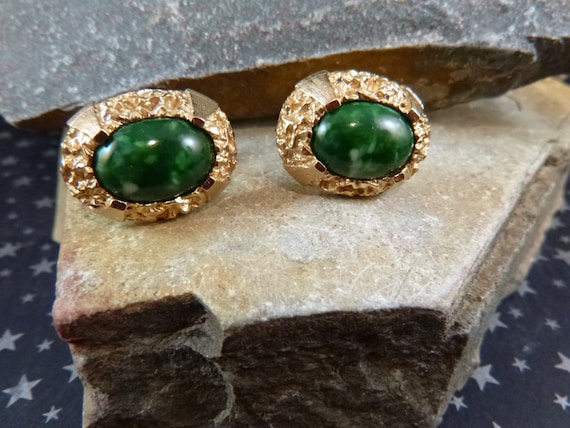 Anson Vintage Dark Green Stone Emerald Colored Cuff Links / Cufflinks