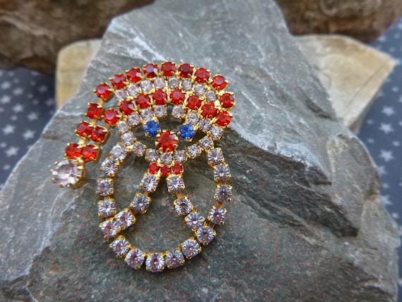 Rhinestone Santa Claus Vintage Pin | Jolly Old St Nick Christmas Festive Holiday Brooch