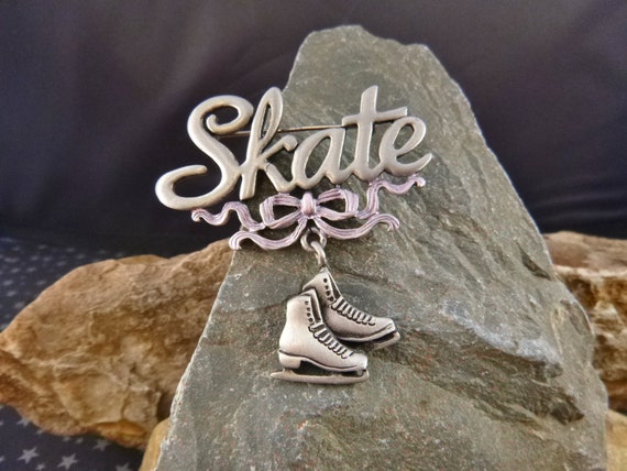 Ice Skater Vintage Pewter JJ Pin | Ice Skates Dangle From Pink Bow | Winter  Sports Themed Skate Brooch