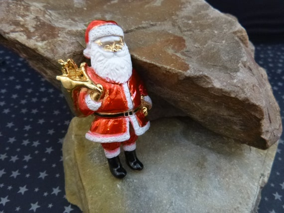 Old Fashioned Large AJC Vintage Santa Claus Brooch | Santa Bringing Bag of Holiday Presents