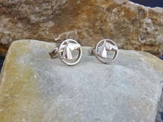 Horse Lover? Vintage Horse Head Round Silver Tone Open Circle Cuff Links | Equestrian Cowboy Western Horse Themed Cufflinks