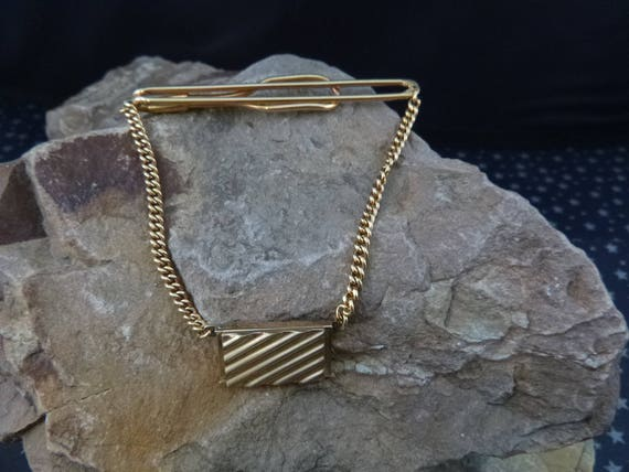 1940s Locket Tie Clip | Vintage Swank Slide Tie Bar with Swag Chain | Rectangular Center Picture Locket Tie Clasp