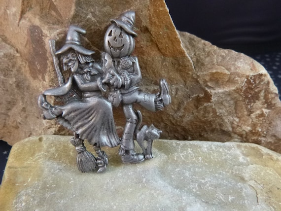 Halloween Pewter Danecraft Pin | Witch and Pumpkin Scarecrow Dancing the Night Away |  Celebrating Halloween Not So Scary Vintage Pin