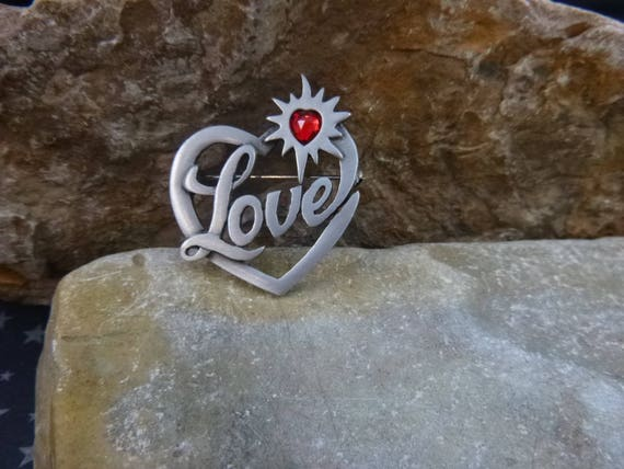 Message of Love Timeless Vintage Pin   JJ Jonette Signed Pewter Heart Brooch   Red Heart within a Heart Love Brooch