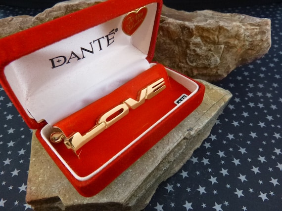 Dante l960s LOVE Tie Clip Vintage NOS (New Old Stock) in Original Box with Chain