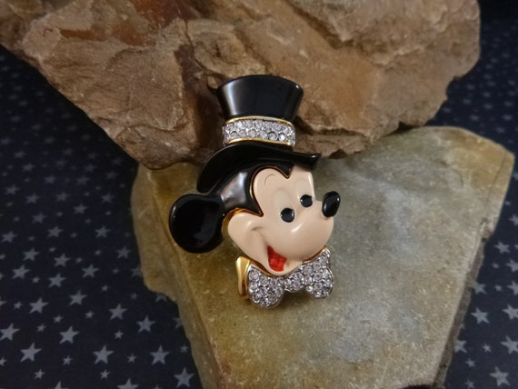 Disney Mickey Mouse Vintage Brooch | All Decked Out with Top Hat and Rhinestone Bowtie | Wedding New Years Black Tie Large Mickey Pin