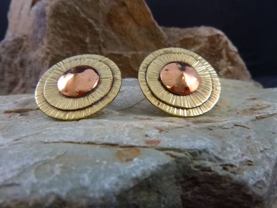 Modernist chenet d'HAITI Mid Century Vintage Earrings | Mixed Metal Medallion Circle Collectible Screw Backs by Winifred Mason Chenet