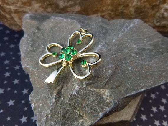 Beatrix Vintage Irish Shamrock Pendant with Green Rhinestones | St Patrick's Day or Any Day