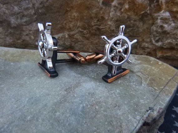 Ship Wheel Vintage Cuff Links | Boat Captain Cufflinks | Nautical Themed Mixed Metal Hickok Cuff Adornments