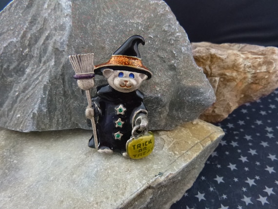 Decked out for Halloween Night | Spunky Little Bear Witch Vintage Pin | Black Witch Hat and Broom with Articulated Trick or Treat Bag