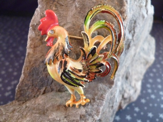 Original by Robert Mid Century Enamel Colorful Proud Rooster Pin Book Piece