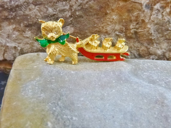 Cute Christmas Kitten Vintage Pin | Kitty Cat Pulling Presents on Red Sled Holiday Brooch