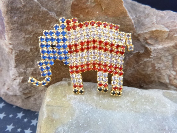 Rhinestone Republican Elephant Patriotic Red White and Blue Sparkling Elephant Vintage Brooch