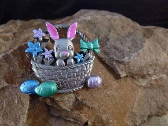 Easter Bunny in Basket with Easter Eggs Pewter and Enamel Signed JJ (Jonette) Vintage Brooch