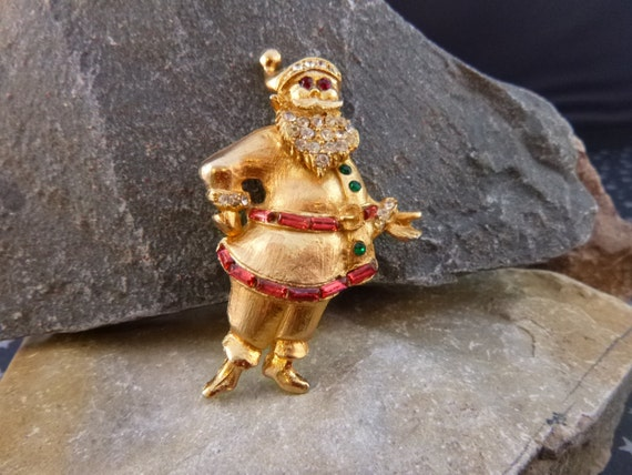 Old Fashioned Santa Claus Vintage Christmas Brooch Mid Century Old St. Nick Pin