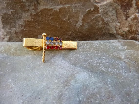 American Flag Patriotic Small Tie Clip with Red White and Blue Rhinestones July 4
