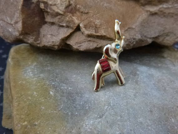 Petite Republican Elephant Figural with Trunk Up for Good Luck Vintage Pin