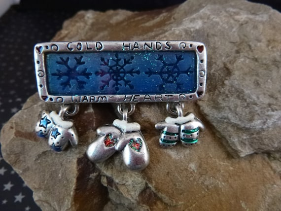 Cold Hands Warm Heart Three Mitten Pewter and Enamel Vintage Winter Pin