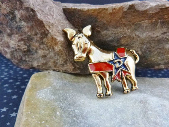 Patriotic Democratic Vintage Donkey Pin Blue and Red | Gold Tone with D on Star | Party Affiliation Pin