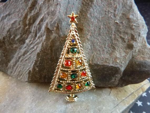 BJ (Beatrix) Christmas Triangle Tree Vintage Pin with Rhinestones Book Piece