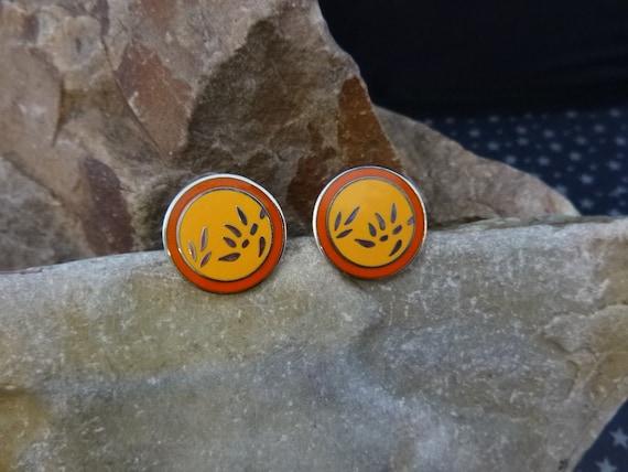 Laurel Burch Bamboo Leaf Round Post Earrings | Cloisonné Enamel Yellow and Orange Asian Flair Vintage Pierced Earrings