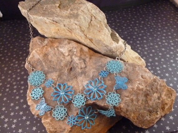 Laced Metal Turquoise Colored Flower and Butterfly Vintage Necklace