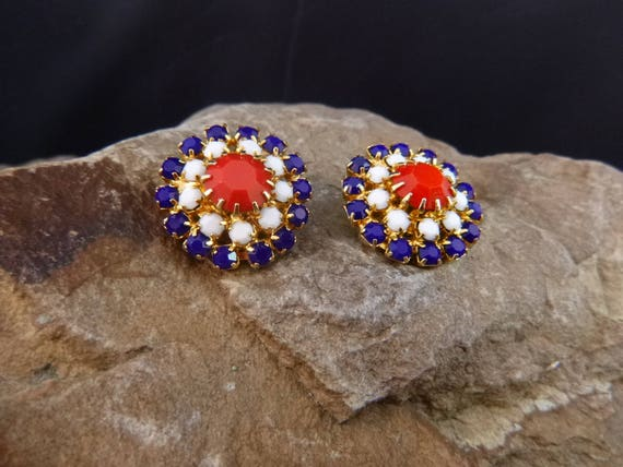 1970s Patriotic Clip Vintage Earrings | Red, White, and Blue July 4