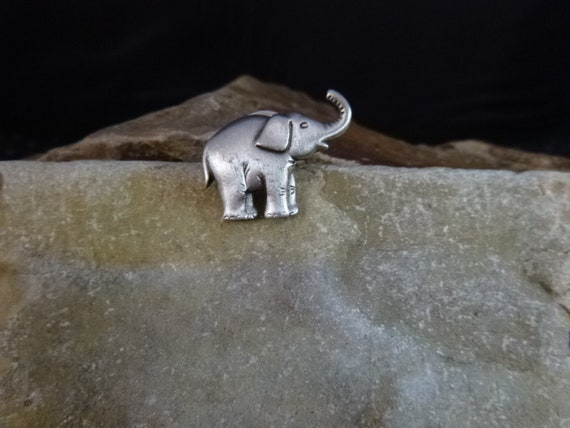 Republican Elephant with Trunk Up for Good Luck   Small Vintage Lapel or Hat Pin   GOP Political Republican Party Symbol   JJ Signed