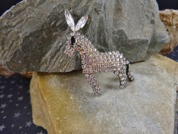 Rhinestone Democratic Donkey With Articulated Tail   Big Ear Vintage 1960s Donkey Figural Patriotic Brooch