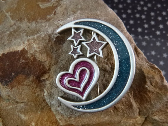 Once in a Blue Moon Pewter Vintage Pin Stars Moon Heart with Sparkly Glitter Signed J.J. (Jonette) circa l980s