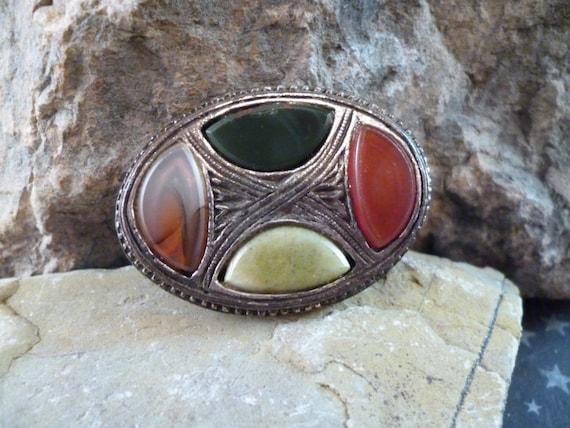 Scottish Faux Agate Antiqued Pewter Vintage Brooch