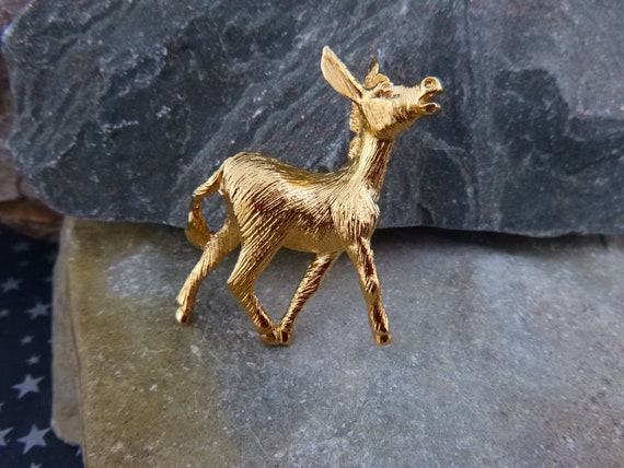 Napier Proud Donkey Democratic Party Symbol Vintage Figural Brooch circa l960s-70s
