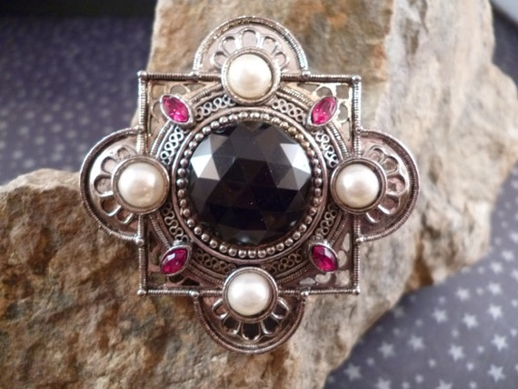 Gothic Crest Style J.J. 1988 signed Rhinestone and Faux Pearl Antiqued Silver Tone Jonette Brooch