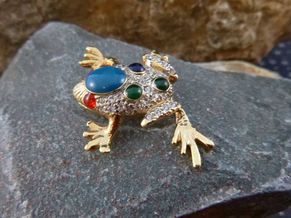 Spunky Frog Brooch | Red Eyes, Clear Rhinestones and Cabochons Bumps Sparkly Vintage Frog Pin