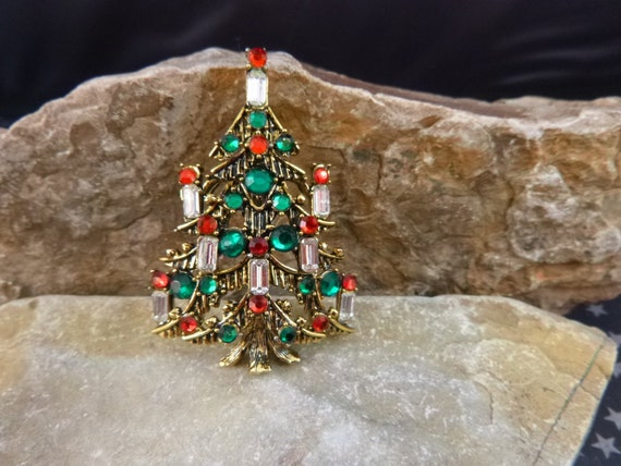 Vintage Signed Hollycraft Christmas Tree Pin | Baguette Eight Candles with Red and Green Rhinestone Ornaments | Collectible Book Piece